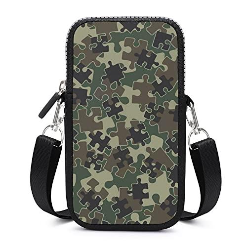 Bolso bandolera con correa de hombro extraíble camuflajes, puzles, bolsa a prueba de sudor, para llaves, brazalete de yoga, unisex