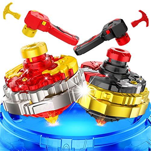 WeiX 2 Piezas Peonzas,Burst Juego,Gyro Burst Top Starter con Burst Spinning Tops 4D Set con Launcher Regalo Mejor para los Niños