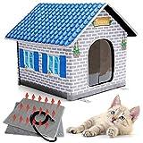 Toozey Caseta de gato calefactable para interiores y exteriores, impermeable y aislante, un hogar seguro para mascotas y para tu gato o tu pequeña abuela, para mantener caliente en invierno.