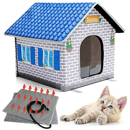 Toozey Heated Cat House for Winter, Indoor/Outdoor Cat House Weatherproof with Heated Cat Bed, Providing Safe Feral Cat House for Cats or Small Dog, Easy to Assemble Cat Shelter