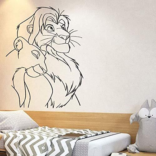 WERWN Rey León Pared calcomanía Dibujos Animados Simba Vinilo Pared Pegatina guardería niños Dormitorio bebé habitación decoración del hogar Arte Mural