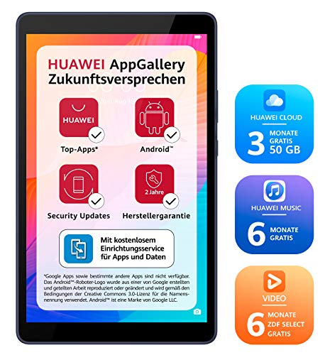 Huawei MatePad T 8, HD WiFi PC-Tablet, Octa-core Prozessor, Gesichtserkennung, 2 GB RAM, 16 GB ROM, Android 10.0, EMUI 10.0.1, ohne Google Play Store, Deepsea Blue