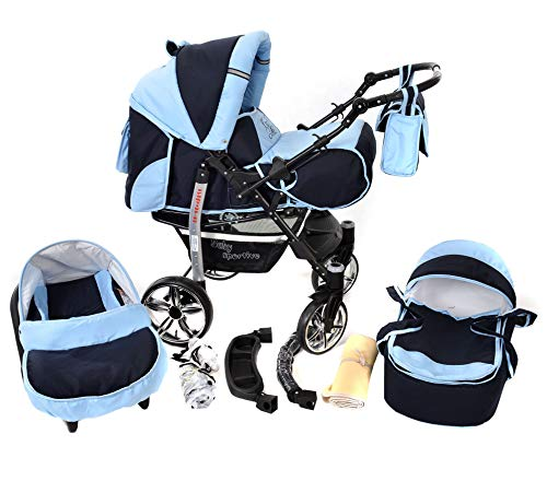 Sportive X2, 3-in-1 Travel System incl. Baby Pram with Swivel Wheels, Car Seat, Pushchair & Accessories (3-in-1 Travel System, Navy-Blue & Blue)