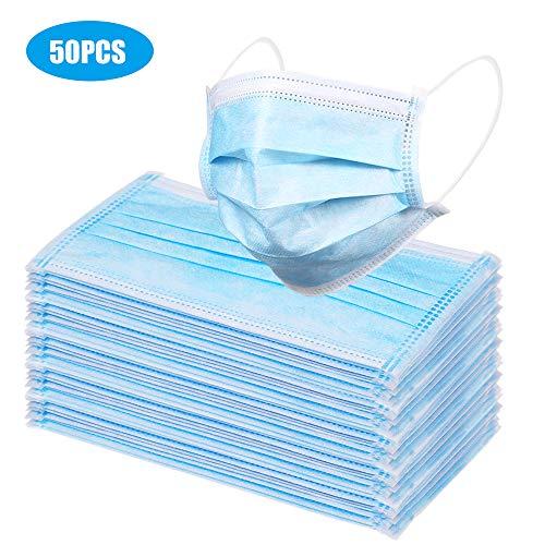 Maschera medica OP monouso, confezione da 50 fasce elastiche blu a 3 strati con filtro 99,5% di efficienza,in garza, antipolvere