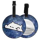 Etiquetas De Equipaje De Cuero Sintético Identificación De Nombre con Cubierta De Privacidad Trasera para Maleta De Viaje, Original Cat Stars 6