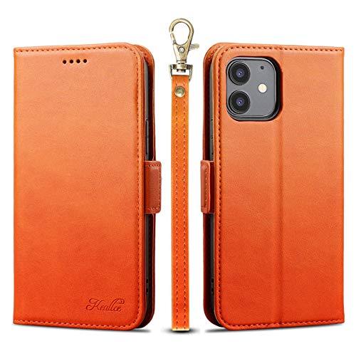 iphone 12 Mini ケース 手帳型 iPhone12mini 手帳型ケース iphone12 Mini カバー アイフォン12ミニーケース 手帳型 カード収納 ストラップ付き 保護力 サイドマグネット スタンド機能 オレンジ【5.4inch】