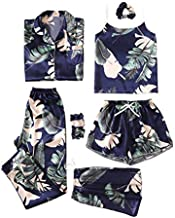 SheIn Women's 7pcs Pajama Set Cami Pjs with Shirt and Eye Mask Navy Tropical Medium