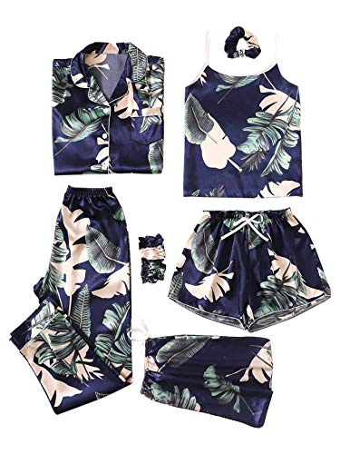 SheIn Women's 7pcs Pajama Set Cami Pjs with Shirt and Eye Mask Navy Tropical Large