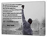 Rocky Balboa Foto con sus citas en B&W Impresión sobre lienzo enmarcado 24' x 16' -18mm de profundidad