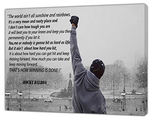 Rocky Balboa Foto mit seinen Zitaten in Schwarz-Weiß-Weiß-Druck auf gerahmter Leinwand, Wandkunst, 61 x 40,6 cm, Tiefe 18 mm
