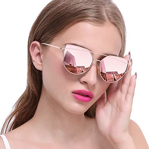 Joopin Gafas de Sol Polarizadas para Mujer Ojo de Gato de Moda Cateye de Gran Tamaño Lente con espejo rosa simple