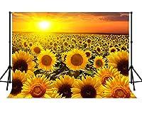 lovedomi 7x5ft 春の日没の夕暮れの暖かい太陽が黄色いヒマワリの花畑の写真の背景写真スタジオブースに輝く家族の休暇の誕生日パーティースタジオの小道具写真のビニール素材
