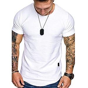 スラブコットンTシャツ、スポーツ半袖、メンズファッションレザーレーベルラウンドネックカジュアルフィットネス半袖Tシャツ,白,S