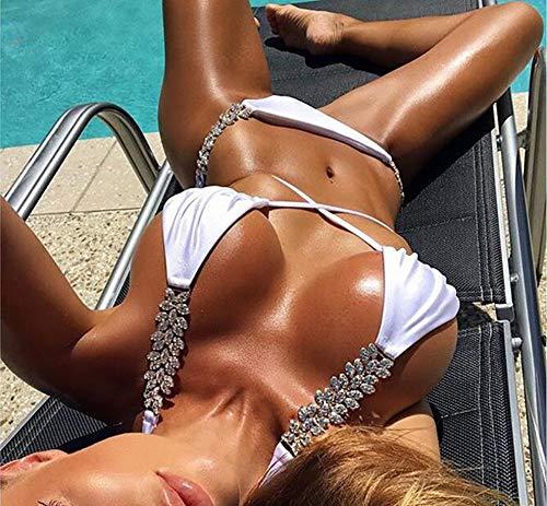 SHANGXIAN Sommer Teilt Badeanzüge Strass Glitzer Pailletten Badeanzug Frauen Sexy Bikini-Set,White,L
