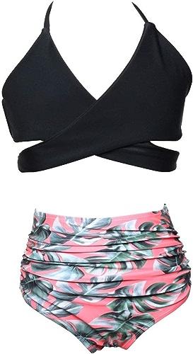 Tanxinxing Maillot de Bain à Volants Bikini Taille Haute mère et Fille Maillot de Bain en Nylon de Couleur Assorcravate (Couleur   12, Taille   104)
