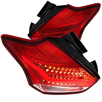 Spec-D Tuning Red Lens LED Bar Tail Lights for 2015-2017 Ford Focus 5Dr Hatchback Taillights Assembly Left + Right Pair