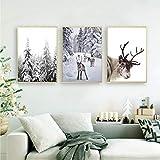 Rentier Poster Druck Winter Wandkunst Leinwand Malerei