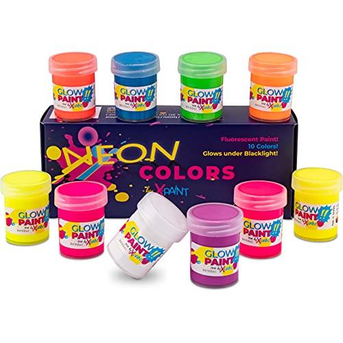 10x Fluoreszierende Textilfarbe | Schwarzlicht Farbe Set | Neon Farbe Textil | Leuchtende UV Stoffmalfarbe MADE IN GERMANY
