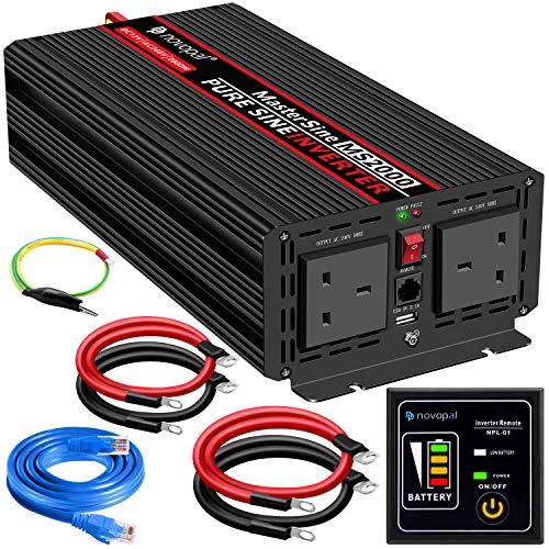 2000W Zuivere sinusgolf -Auto-omvormer 12v naar 240v Convertor - Omvormer Convertor met 2 UK stopcontacten en USB-poort - incl. 5 meter afstandsbediening - piekvermogen 4000 Watt