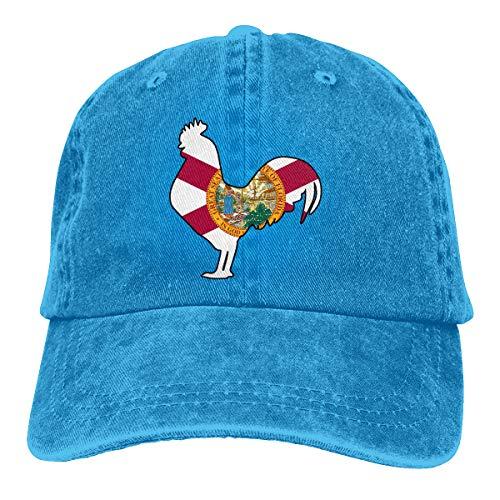 Unisex Florida Flag Rooster Vintage Jeans Baseball Caps Adjustable Cowboy Hats Blue