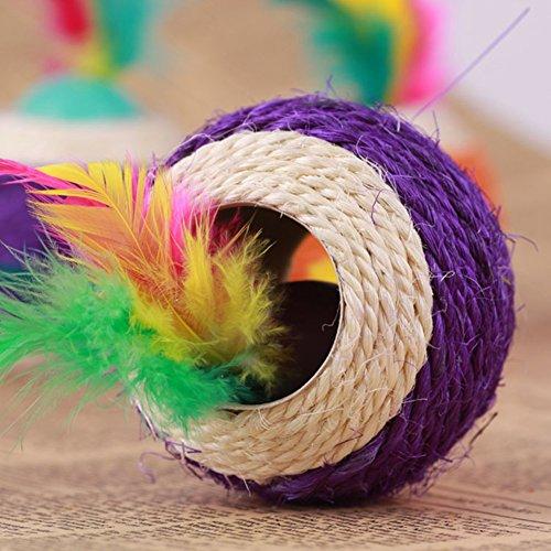 Healthy Clubs Haustier-Spielzeug, Sisalseil-Ball mit Loch, zum Spielen/Kratzen/Kauen, Spielzeug für Katze/Hund/Haustier - 5