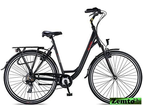 Hooptec Damen Citybike Verona 28 Zoll 7 Gang 55 cm schwarz-matt