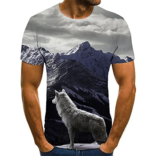 HOHHJFGG Camiseta con Estampado 3D de Lobo, Camiseta de Manga Corta para Hombre de Verano, Camiseta, Sudadera Streetwear