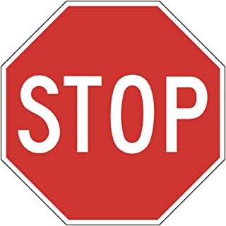 Red Stop Sign Picture Street Office School Business Large Sign - Plastic 2 Pack, 12x18