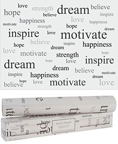 Scentennials Scented Drawer and Shelf Liners - Inspirational Wording Print - Six (6) Large 16.5 x 22 Inch Non-Adhesive Sheets - Perfect for Closet Shelves and Dresser Drawers (Positive Thoughts)
