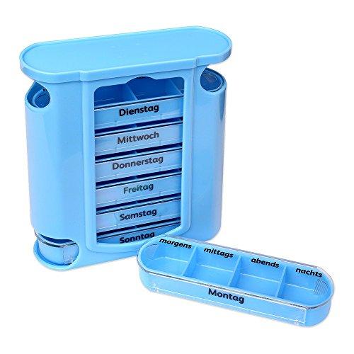 Schramm®Tablettenbox blau mit blauen Schiebern 7 Tage Pillen Tabletten Box Schachtel Tablettendose Pillendose Pillenbox Tablettenboxen Pillendosen Pillen Dose Wochendosierer