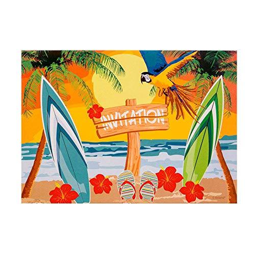 Boland 52473 - Einladungskarten Beach, 6 Stück, Hawaii, Strand, Invitation, Geburtstag, Mottoparty, Karneval
