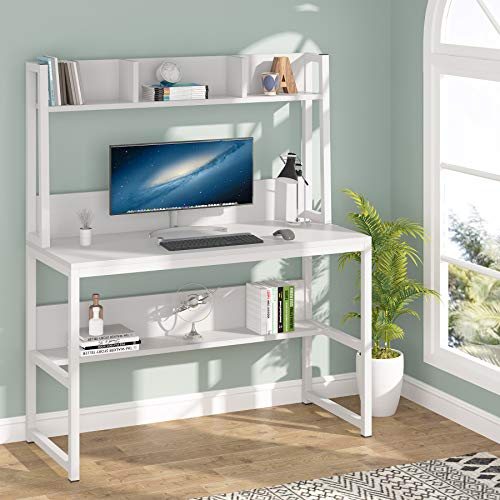 Tribesigns Computer Desk, Home Office Desk Study Desk with Hutch and Shelves for Small Space, 107cm x 50cm x140cm (White)