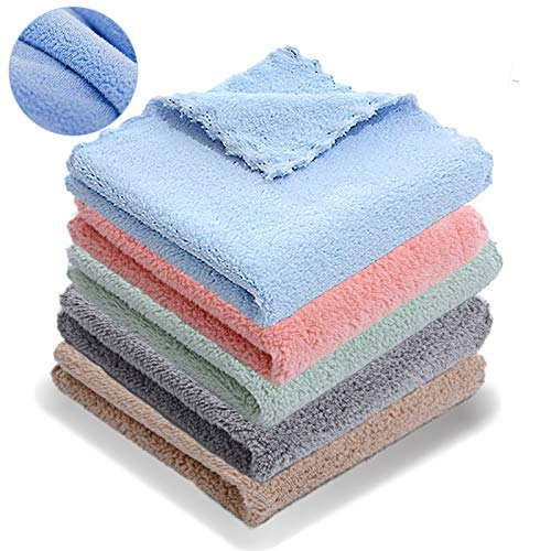 SunnyHome 20Pack Kitchen Dishcloths - Does Not Shed Fluff - No Odor Reusable Dish Towels, Premium Dish Cloths, Super Absorbent Coral Fleece Cloths, Nonstick Oil Washable Fast Drying (Multicolor)