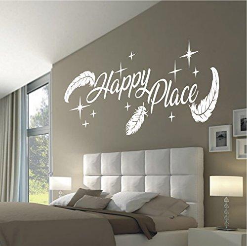 HomeTattoo ® WANDTATTOO Wandaufkleber Happy Place Federn Schlafzimmer Spruch Zitat 804 XL ( L x B ) ca. 58 x 160 cm (grau 071)