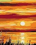 Pintura por números puesta de sol paisaje DIY pintura por número kits de pintura de lienzo para adul...