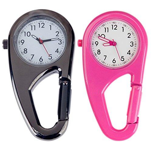 Set von 2Unisex Metall Clip auf/Schlüsselanhänger/Pocket Uhren mit Karabiner für Workout/Outdoor Sport