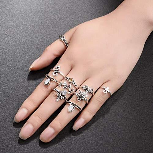 SanQ-Seven Kreuzring Turtle Ring Set 10 Stück Crown Leaf Retro Joint für Frau Mädchen @ Ancient Silber