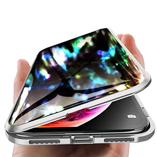 ColiColi für Samsung Galaxy S8 Hülle Magnetische Adsorption 360 Grad mit Panzerglas Schutzfolie Sichtschutz Handyhülle Durchsichtig Hartglas Full Body Schutzhülle Metall Magnet Bumper, Klar Silber