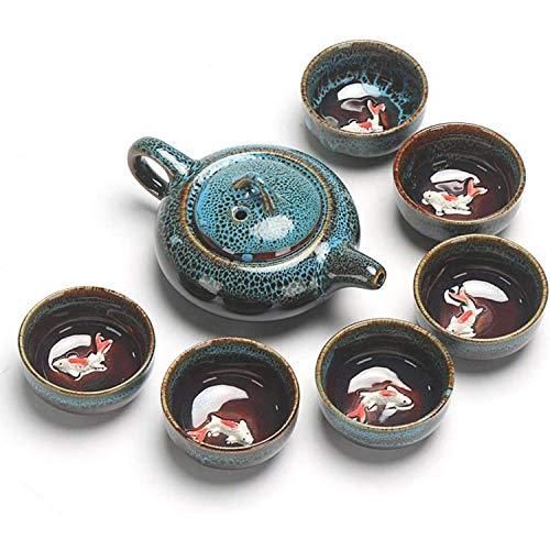 GOICC® Tragbares Chinesisches Kung-Fu-Teeset, Teekanne, Vintage, Keramik, Tee-Set, Reise-Teeservice,Blau