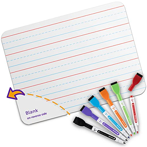 Quality Ruled Dry Erase Lapboard. Great Kids Dry Erase Board to Learn Writing. with 6 Markers. 9-Inch X 12- Inch