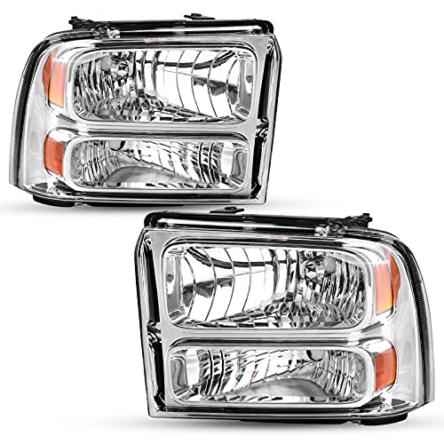 AUTOSAVER88 Headlight Assembly Compatible with 05 06 07 Ford F250 F350 F450 F550 Super Duty/05 Ford Excursion Headlight Assembly OE Projector Headlamp Chrome Housing Clear Lens