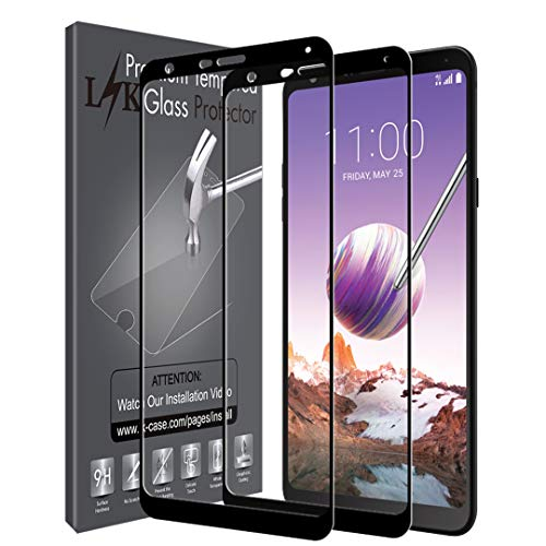 [2 Pack] LK Screen Protector for LG Stylo 4 Tempered Glass [Full Cover] 9H Hardness, Anti Scratch, HD Clarity (Black)