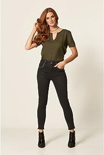Calça Jeans Dark Skinny Com Tachas
