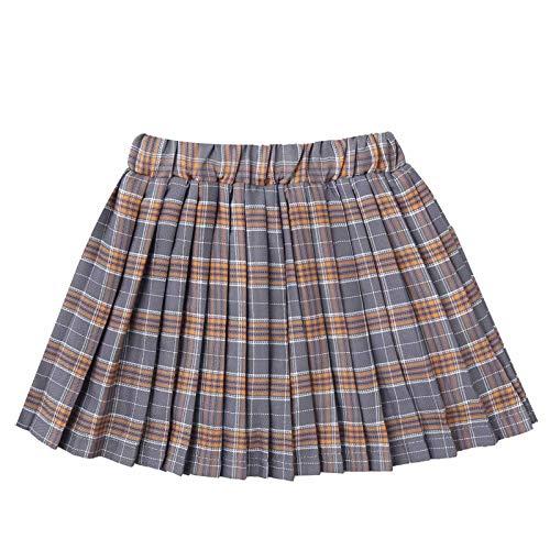 Freebily Niñas Falda Escolar de Cuadros Escocesos Falda Corta Plisada Elástica Uniforme Colegio Falda Corta Algodón Gris 5-6 años