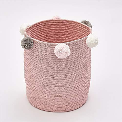 ZHPBHD Cesta de Almacenamiento de Ropa Sucia Bola de Pelo Cesta de lavandería Casa de Almacenamiento de Juguetes de casa, 32x37cm Caja De Almacenamiento (Color : Pink)