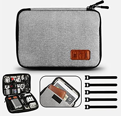 GiBot Cable Organiser Bag, Travel Electronics Accessories Bag Organiser for Cables, Flash disk, USB drive, Charger, Power Bank, Memory Card, Headphone and iPad Mini, Double Layer, Grey by GiBot