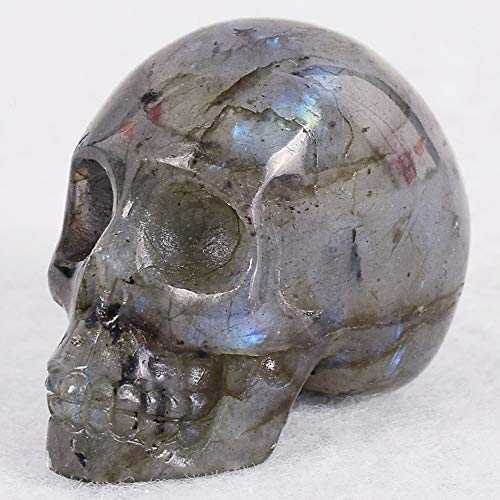 DingSheng 2 inches Natural Rock Quartz Crystal Skull Hand Carved Crystal Skull Reiki Healing Crystal Figurine,Home Decor,Halloween, (Labradorite)