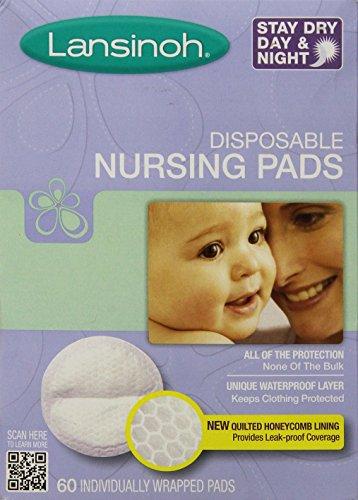 Lansinoh Stay Dry Almohadillas de lactancia desechables, número uno vendiendo almohadilla de lactancia para madres lactantes, protección a prueba de fugas, máxima comodidad y discreción, 60 unidades