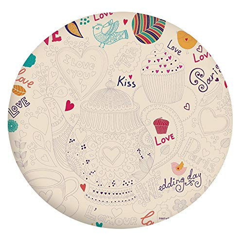 "Stain Resistant Elastic Edged Table cover,Hand Drawn Doodle Style Cartoon Tea Time Sketch Love Kiss Teapot Lovely Birds Decorative Tablecloth,Fits Round Tables 56-60"",Protection for Your Table Multico"