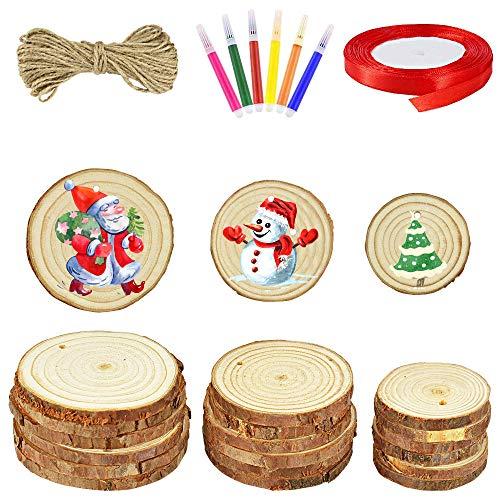 SNAGAROG 30 stuks ronde houten schijven, onbehandelde houten schijven met gat, decoratieve boomschijven voor doe-het…
